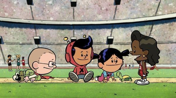 Cartoon image of Jackie Joyner Kersee, Xavier, Yadina and Brad