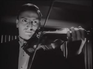Yehudi Menuhin playing the violin.