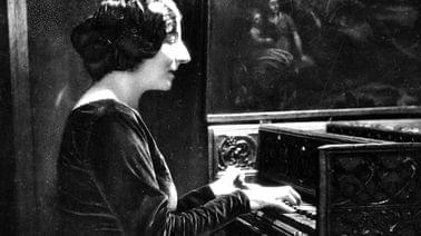 Wanda Landowska playing the piano