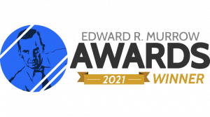 illustration of Edward R Murrow with text Edward R Murrow Awards 2021 Winner