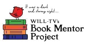 illustration of a bird on a stack of books text reads it was a dark and stormy night WILL-TV's book mentor project