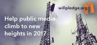 A image of the WILL radio towers, saying 'help public media climb to new heights in 2017