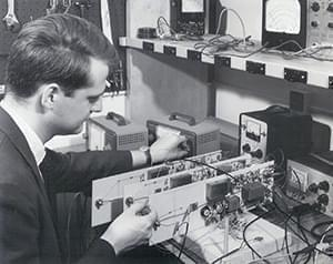 From Left to Right: The Original Harmonic Tone Generator, James Beauchamp constructing the Harmonic Tone Generator, a close up of one of the original instrument's panels