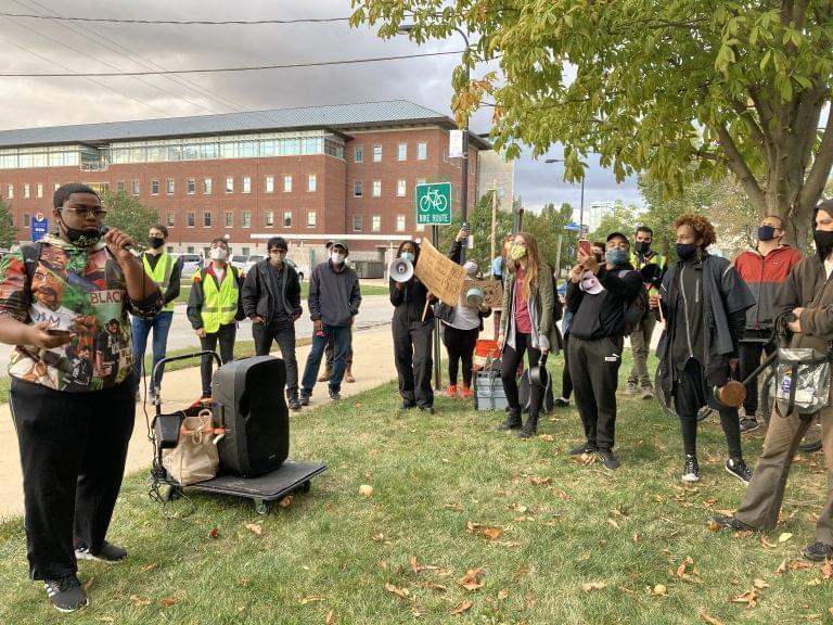 University of Illinois senior Latrel Crawford speaks during a protest to defund and abolition University of Illinois Police on the Urbana campus on Oct 1, 2020.