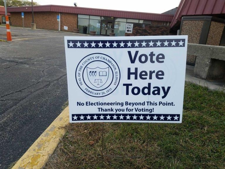 A sign identifies the Brookens Administrative Center in Urbana as a polling place for early voting.