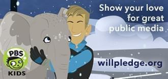 an image from PBS Kids' Wild Kratts, hugging an elephant