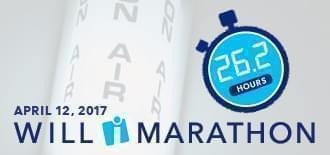 WILL Marathon logo and April 12 over an on-air light