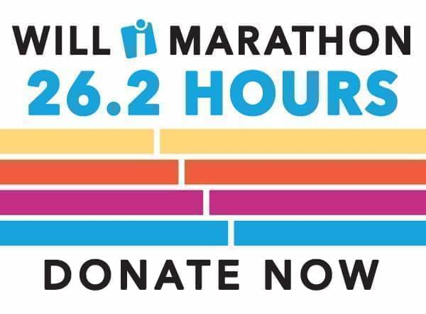 text says 'WILL Marathon 26.2 hours donate now'